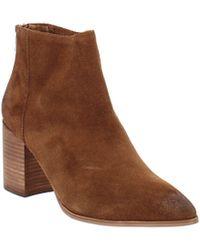Aqua Dante Leather Almond Toe Ankle Fashion Boots - Brown