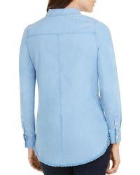 Foxcroft Haven Frayed Hem Shirt - Blue