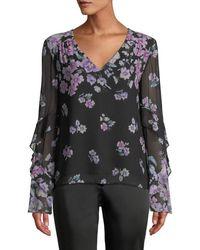 Nanette Lepore Zen Floral-print Silk Blouse - Black