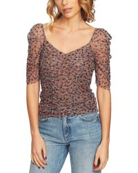 1.STATE Heritage Bloom Ditsy Drift Ruched Sleeve Top - Multicolor