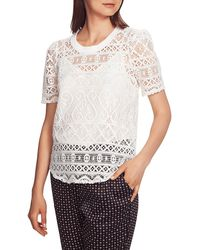 1.STATE Plush Luxe Puff Sleeve Lace Top - White