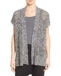 Eileen Fisher Short-sleeve Open Front Cardigan - Black