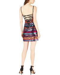 LEYDEN Lace-up Back Mini Dress - Red
