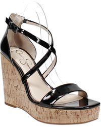 Jessica Simpson Stassi Platform Wedge Sandals - Black