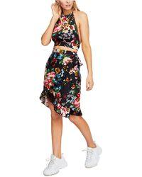 Free People Floral Halter Top & Ruffled Skirt Set - Blue