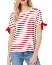 Maison Jules Croissant Striped Tie-sleeve T-shirt - Red