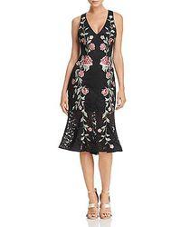 Aqua Pleated Lace Evening Dress - Black