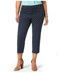 Charter Club Geometric-print Cropped Trousers - Blue