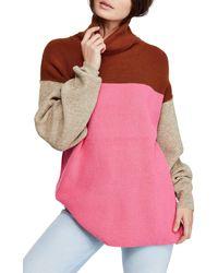 Free People Color-block Turtleneck Sweater - Pink