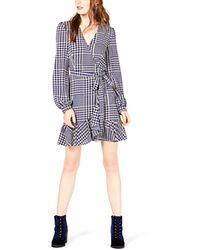 LEYDEN Ruffled Wrap Dress - Blue