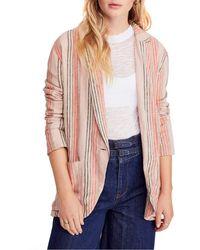 Free People Simply Stripe Blazer - Pink