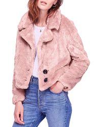 Free People Mena Faux Fur Coat - Pink