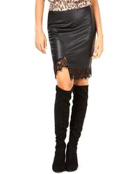 Bar Iii Faux-leather Skirt W/lace - Black