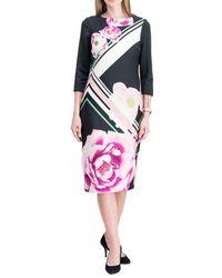 Eci Printed Sheath Dress - Multicolor
