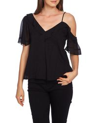 1.STATE Ruffle One-shoulder Embroidered Top - Black