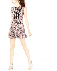Bar Iii Floral-print Ladder-trim Dress - Multicolour