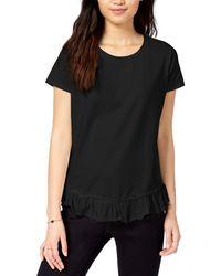 Maison Jules Short-sleeve Ruffled-hem T-shirt - Black
