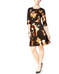 Eci Metallic-print Fit & Flare Dress - Black