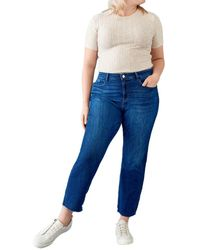 Warp & Weft Lfz - High Rise Relaxed Straight Jeans - Blue