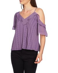 1.STATE Ruffle One-shoulder Embroidered Top - Purple