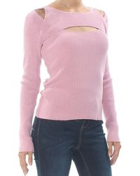 Bar Iii Cut Out Ribbed Long Sleeve Jewel Neck Jumper - Pink