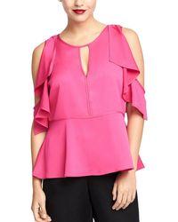 RACHEL Rachel Roy Ruffled Cold-shoulder Top - Pink
