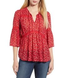 Lucky Brand Floral Peasant Top - Red