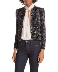Rebecca Taylor Velvet Snake-print Jacket - Black