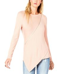 Karen Scott Striped Three-quarter Sleeve Polo Shirt - Pink