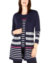 Charter Club Petite Striped Cardigan - Blue