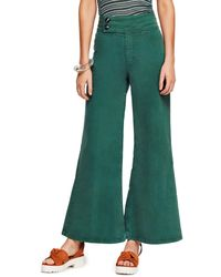 Free People Youthquake Bell Bottom Trousers - Green