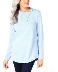 Karen Scott Button-neck Sweater - Blue
