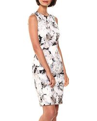 Calvin Klein Floral-print Sheath Dress - White