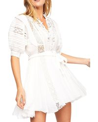 Free People Sydney Lace Pintucked Dress - White