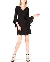 Bar Iii Tiered-sleeve Faux-wrap Dress - Black