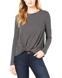 Maison Jules Striped Knot-front Top - Gray