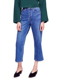 Free People Wales Cropped Wide-leg Jeans - Blue