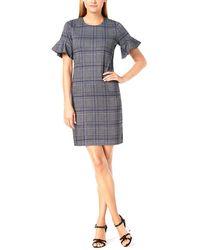 Calvin Klein Plaid Flutter-sleeve Sheath Dress - Black