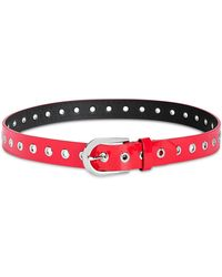 DKNY Spazzolato Patent Leather Belt - Red