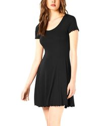 Bar Iii Midnight Dots V-neck Ribbed Fit And Flare Dress - Black