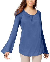 Style & Co. Lantern-sleeve Scoop Neck Peasant Top - Blue