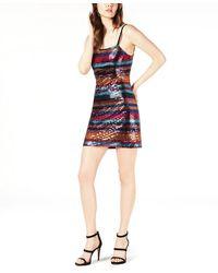 LEYDEN Lace-up Sequin Mini Dress - Multicolor