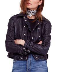 Free People Avis Leather Jacket - Black