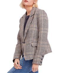 Free People Chess Linen Blazer - Multicolour