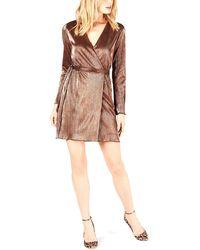 LEYDEN Mini Wrap Dress - Brown