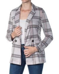 Project 28 NYC Plaid Double-breasted Blazer - Grey