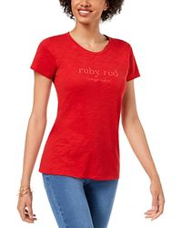 Maison Jules Graphic T Shirt Short Sleeve Jewel Neck Top - Red