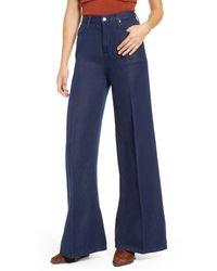 Free People Super High Rise Wide Denim Jeans - Blue