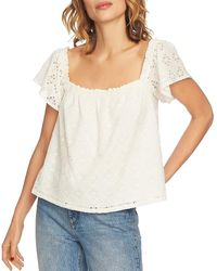 1.STATE Jungle Boogie Square-neck Eyelet Top - White