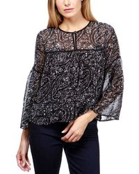 Lucky Brand Sheer Printed Bell-sleeve Blouse - Black